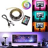 Sisaki LED Rétroéclairage TV, 1M/2M Multi-Couleurs Flexible LED Bande de lumière avec Le câble USB Mini Controller pour TV/PC / Ordinateur Portable Rétro-éclairage