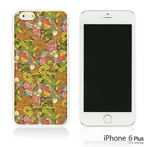 OBiDi - Flower Pattern Hardback Case / Housse pour Apple iPhone 6 Plus / 6S Plus (5.5)Smartphone - Pretty Paisley Pattern Colorful Flowers With Birds