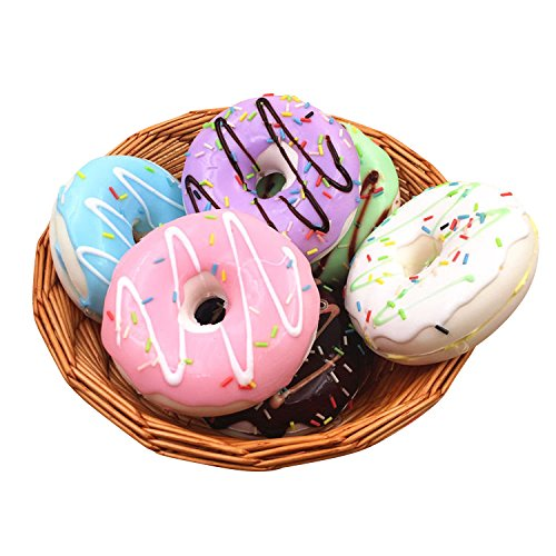 REALACC 10cm Cute Donuts Big Bread Charms Kawaii Squishy Soft Bag Keychain Straps Decor