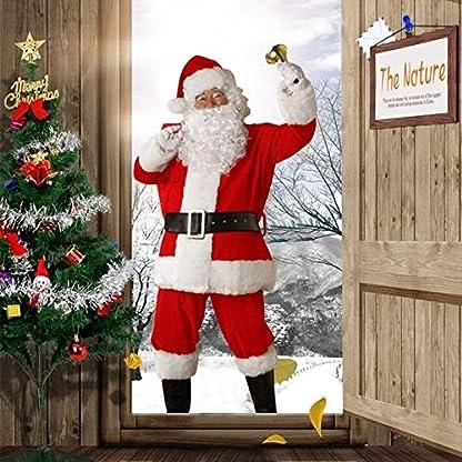 LINKLANK Traje de Papá Noel, Disfraz de Papá Noel de Navidad, Traje de Cosplay para Hombres Adultos con Chaqueta, Pantalones, cinturón, Barba y Sombrero