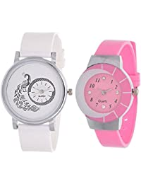 SPINOZA White Peacock And Pink Multicolor Glass Analog Watch For Girls And Women