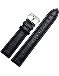 WOSUK Width 22mm Replacement Watch Leather Strap Universal for Men and Women Genuine Cowhide Leather Watch Band (Leather Strap Black Thick)