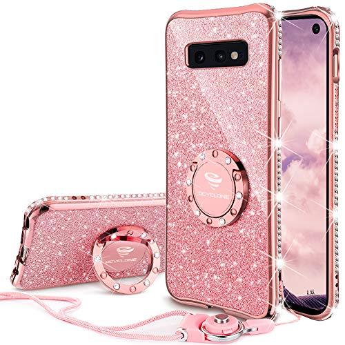 Hülle, Glitzer Diamant Handyhülle mit Trageband und Handy Ring Ständer Schutzhülle für Galaxy S10e Handy Hülle für Mädchen Frauen, [5.8 Zoll] Rosa Gold ()