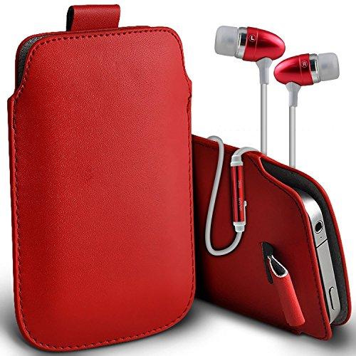 (Grau) Tasche für iPhone 7 Plus-Handy Case Premium stilvolle Kunstleder Pull Tab-Beutel-Haut-Kasten Verschiedene Farben Cover von iPhone 7 Plus-Tasche wählen Sie von i-Tronixs Pull tab + earphones (Red)