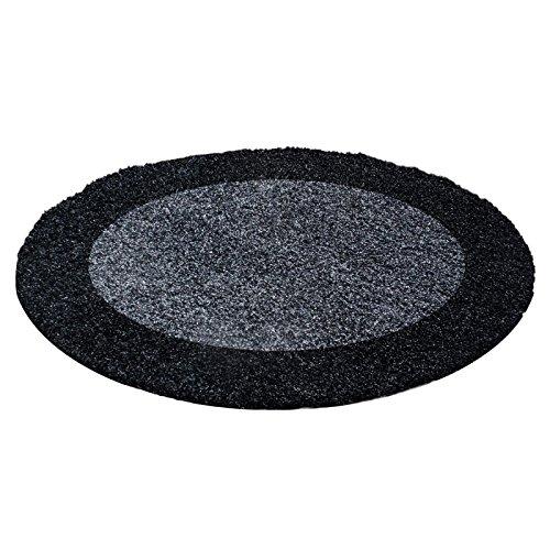 Carpettex Teppich Tapis Shaggy Pile Longue Designe Anthracite Gris - 120x120 cm Ronde