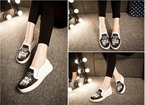 QIYUN.Z 3D De La Mode Des Femmes Imprimes Roche Vachette Plat Patin Casual Mocassin Chaussures Simples Devious Maids Noir