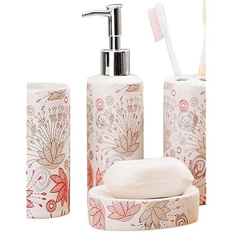 WZL-Accessori bagno plain fiorellino colore bagno quattro pezzi suit(Casuale forma del modello)