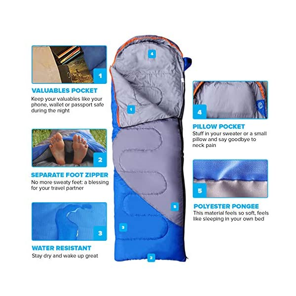 Mountaineers Outdoor Sleeping Bag, 4 Season, XL Pillow Pocket & Water Resistant Outer Shell - Including Foot Zipper… 3