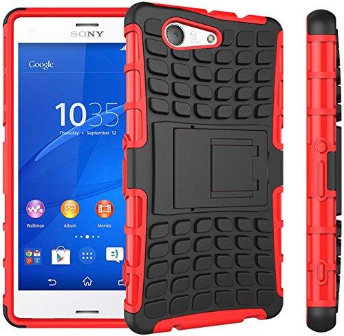 Preisvergleich Produktbild Nnopbeclik Sony Xperia Z3 Compact / Z3 Mini Hülle,  Dual Layer Rugged Armor stoßfest Handy Schutzhülle Silikon Tasche für Sony Xperia Z3 Compact / Z3 Mini - Rot + 1x Display Schutzfolie Folie