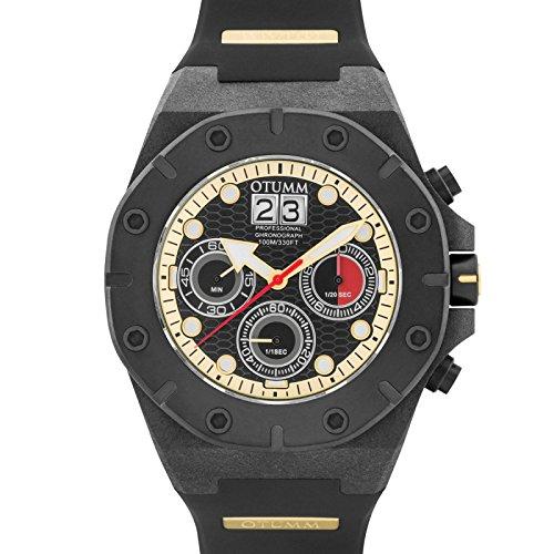 Otumm Carbon Fiber Chronograph 01 Schwarz Rot 3 Zeiger 52mm Unisex Carbon Fiber Armband Uhr