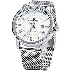 Leopard Shop Naviforce Men Quartz Watch Date Display Stainless Steel Band #4