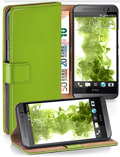 moex® Booklet mit Flip Funktion [360 Grad Voll-Schutz] für HTC One M8 | Geldfach und Kartenfach + Stand-Funktion und Magnet-Verschluss, Grün