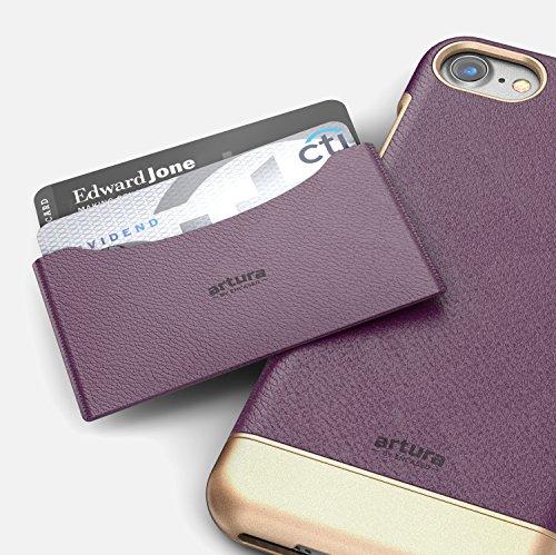 "iPhone 7 Plus (5.5"") Premium Vegan Leather Case - Artura Collection By Encased (Jet Black) Merlot Purple"