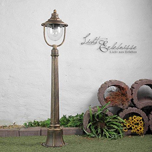 Formschöne Standleuchte in Antikgold E27 bis 60 Watt 230V Stehleuchte aus Metall & Glas Stehlampe für Garten/Terrasse Standlampe Garten Weg Terrasse Lampen Leuchte Beleuchtung