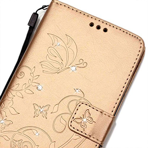 iPhone 5C Hülle Leder,iPhone 5C Hülle Silikon,iPhone 5C Hülle Flip Case,iPhone 5C Cover,EMAXELERS iPhone 5C Leder Handy Tasche Wallet Case Flip Cover Etui,PU Leder Flip Wallet Hülle für iPhone 5C,iPho Diamond Butterfly 5