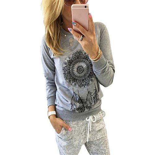 Bluse Damen, Brawdress Traumfänger Pullover Mädchen Herbst Frühjahr T-shirt Tops Sweatshirt (XL, Grau) (Pullover Empire-taille-wolle)