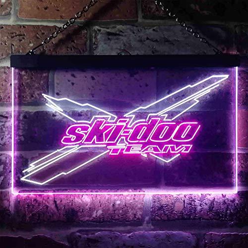 zusme Ski-DOO Novelty LED Neon Sign White + Purple W30cm x H20cm -