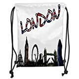 ZKHTO Drawstring Sack Backpacks Bags,London,Cartoon Drawing Style Famous Landmarks of London United Kingdom Big Ben Parliament Decorative,Multicolor Soft Satin,5 Liter Capacity,Adjustable STR