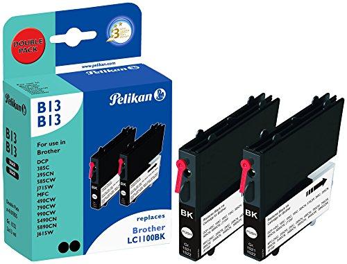 Preisvergleich Produktbild Pelikan Druckpatronen DoppelPack B13B13 ersetzt Brother LC1100BK, 2x Schwarz