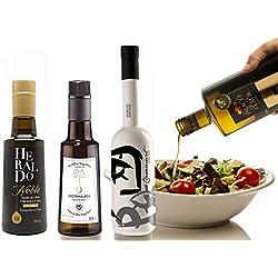 1.- Pack gourmet de 4 aceites oliva virgen extra de 250 ml cada botella: Escornalbou, Heraldo, Palacio de los Olivos y Claramunt koroneiki. Desde oleumbox te presentamos estos 4 excelentes aceites con aromas y sabores intensos.