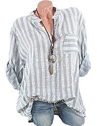 ShallGood Damen Freizeit Streifen Leinen Bluse Locker Hemd Longbluse Casual  Gestreift Hemd V-Ausschnitt Taschen Lange Ärmel Lässig… 87563fbe2d