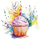 dekodino® Adesivo murale tortino all'acquerello candela di compleanno cucina
