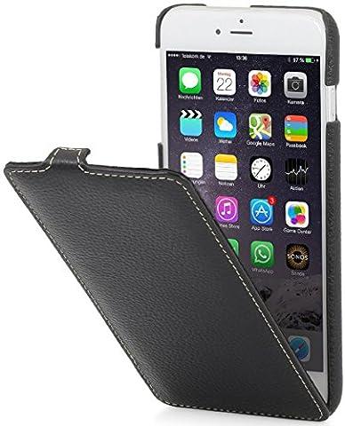 StilGut UltraSlim Case Hülle Leder-Tasche für iPhone 6. Dünnes 360 Grad Flip-Case vertikal klappbar aus Echtleder für das Orginal iPhone 6 (4,7 Zoll), schwarz