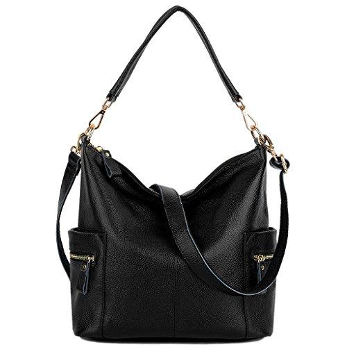 Ausverkauf-Yaluxe Damen Multi Fach weich Rindsleder Leder Henkeltasche Hobo Stil Schultertasche schwarz (Hobo-stil Handtaschen)
