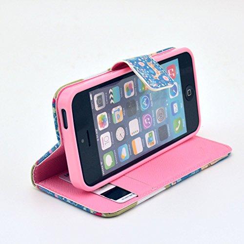 Coque pour Apple iphone SE 5 5S,Housse en cuir pour Apple iphone SE 5 5S,Ecoway Colorful imprimé étui en cuir PU Cuir Flip Magnétique Portefeuille Etui Housse de Protection Coque Étui Case Cover avec  C-2