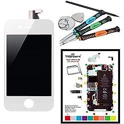 Trop Saint® Ecran Blanc pour iPhone 4S - Kit de Réparation avec Tapis de Repérage Magnétique et Outils