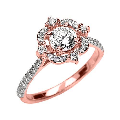 Bague Femme/ Bague De Fiançailles 10 Ct Or Rose Véritable Blanc Topaze Et Diamant