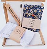 Assorted Zero Waste Box, XXL Beeswax Food Wrap, 3 X Produce Bags, Bamboo Toothbrush, handmade, reduce plastic