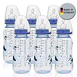 NIP PP Flasche Boy // 6er Set // Standardbabyflasche 250 ml // angenehm weiches PP // kiefergerechter Sauger Silikon mit Anti-Kolik Ventil Größe M ( Milch / ab 0 Monate) // inkl. Verschlußplättchen