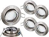 Lot de 5–Téléviseur LED Spot LED encastrable Spot orientable inox brossé 230V fer-– 4W 350LM 120°–tagesweiß (4000K)