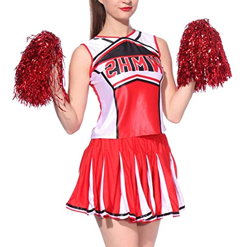 Daytwork Sport Tanzen Damen Kostüm Verkleiden - Pompons Cheerleader Kleider Tops Kurz Rock Set Tanzkleidung Performance Ballsaal Party Kostüm