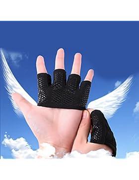 guantes movimiento Gimnasio masculino Mujer Medio dedo Yoga Mancuerna Sostenga la barra horizontal de entrenamiento...
