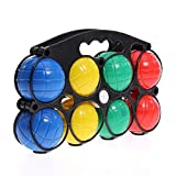GLOW Plastic French Boules Garden Game – Bright and Colourful Portable Set of 8 Multicoloured Water Filled Plastic Bocce Balls with Jack and Strong Moulded Carry Case – Popular Indoor and Outdoor Bowls Fun Sport Activity Petanque Play Bowling Toy for Family Kids Children Adults Work Office Summer Sun Beach Park Party Team Building