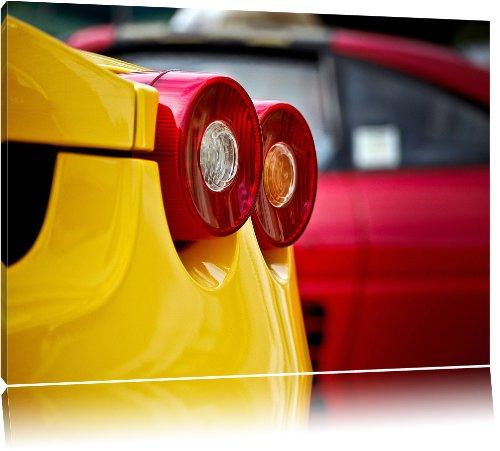Rücklichter Ferrari, Bild auf Leinwand, XXL riesige Bilder fertig gerahmt mit Keilrahmen, Kunstdruck auf Wandbild mit Rahmen, günstiger als Gemälde oder Ölbild, kein Poster oder Plakat, Format:120x80 cm