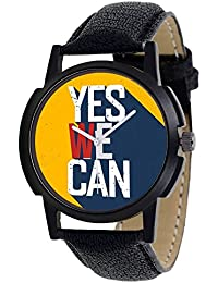 """DLG New""""Yes We Can"""" Theme Black Round Multicolour Dial Black Leather Strap Watch For Boys And Men DLG-AR-104_Bk"""