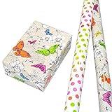 Geschenkpapier Set 2 Rollen (75 x 150 cm), bunt glänzendes Punkte-design und Schmetterlinge hochwertig mit Glitter veredelt. Für Geburtstag, Sommer, Kinder. Modern und hochwertig.