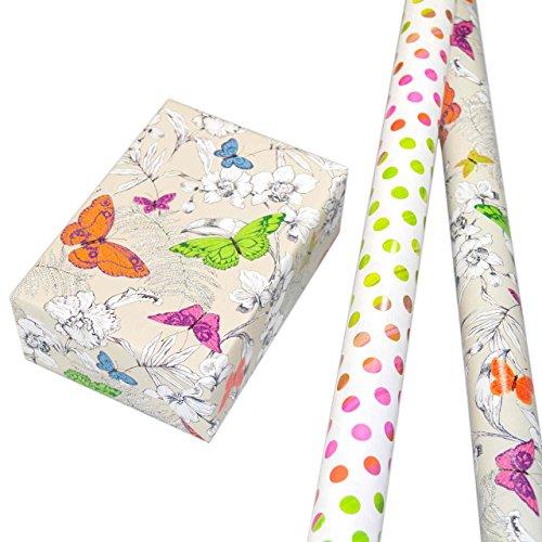 Geschenkpapier Set 2 Rollen (75 x 150 cm), bunt glänzendes Punkte-design und Schmetterlinge hochwertig mit Glitter veredelt. Für Geburtstag, Sommer, Kinder. Modern und hochwertig. (Geburtstag, Verpackung, Papier)