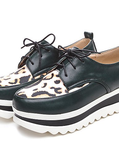 ZQ Scarpe Donna - Stringate - Casual - Plateau / Creepers / Punta arrotondata - Plateau - Finta pelle - Nero / Verde / Bianco , white-us8 / eu39 / uk6 / cn39 , white-us8 / eu39 / uk6 / cn39 black-us7.5 / eu38 / uk5.5 / cn38