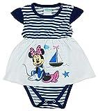 Minnie Mouse Mädchen Baby Body Kurzarm in Gr 56 62 68 74 80 Blau-weiß gestreift Urlaubfeeling von Disney ideal auch für Geburtstagsparty, 0-6 Monate, bis 1 Jahr Größe 80