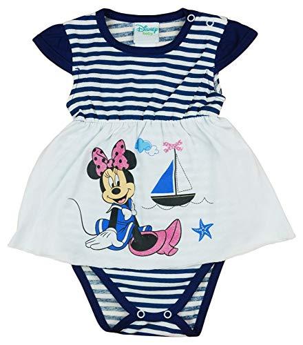 Minnie Mouse Mädchen Baby Body Kurzarm in Gr 56 62 68 74 80 Blau-weiß gestreift Urlaubfeeling von Disney ideal auch für Geburtstagsparty, 0-6 Monate, bis 1 Jahr Größe 56 - Baby-kleid-hose