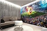 Fotomurale 3D Murale Partita Di Calcio, Murales Campo Di Calcio, Bar Club Camera Da Letto Decorazione Murale (W)130X(H)80Cm