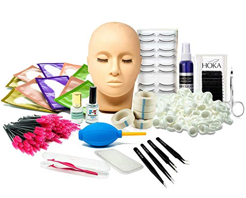 mcwdoit Lash Eyelash Extension Kit, Professional Mannequin Head Training For Beginners Eyelashes Extensions Practice Cosmetology Esthetician Supplies -