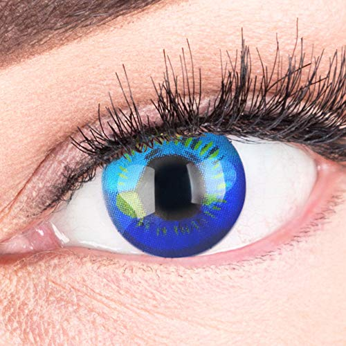 Farbige Blaue Kontaktlinsen Anime Blue Circle Lenses Heroes Of Cosplay Stark Deckend Ohne Stärke mit gratis Linsenbehälter