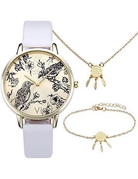 JSDDE Vintage Blumen Vogel Armbanduhr Basel-Stil Weiß Quarz Uhr + Traumfänger Anhänger Armband Halskette Geschenk...