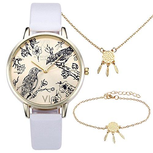 JSDDE Vintage Blumen Vogel Armbanduhr Basel-Stil Weiß Quarz Uhr + Traumfänger Anhänger Armband Halskette Geschenk Set