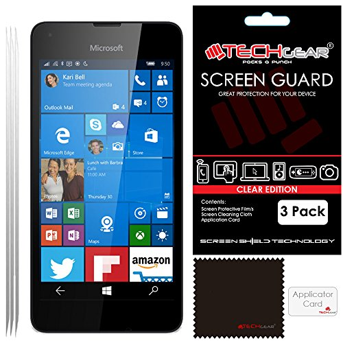 pack-of-3-techgearr-microsoft-lumia-550-clear-lcd-screen-protector-guard-covers-with-cleaning-cloth-